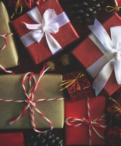 christmas gifts wrapped with bows