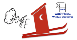 Clipart image of outhouse on skis with cloud of smoke behind it
